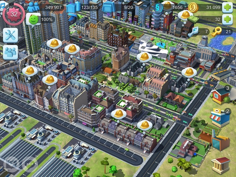 ヨーロッパ風の建築を並べたシムシティの画像