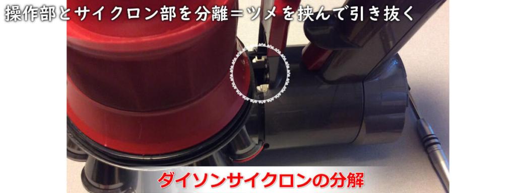 ダイソン掃除機のサイクロン部と本体操作部を分離する方法を説明した画像