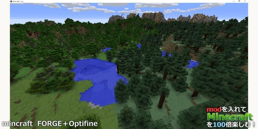 FORGEとOptifineを導入したマインクラフトの画面